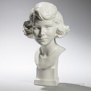 Wedgwood Moonstone-glazed Bust of Young Queen Elizabeth II