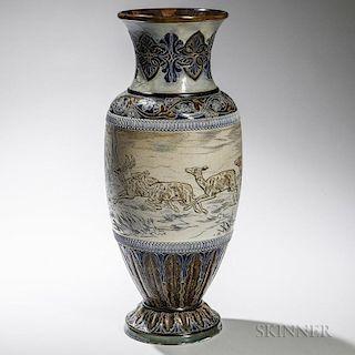 Large Doulton Lambeth Stoneware Hannah Barlow Decorated Vase