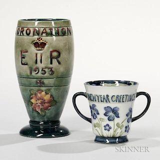 Two Moorcroft Pottery Souvenirs