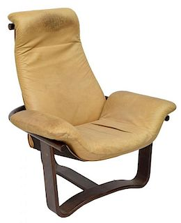 DANISH MODERN SLING LEATHER LOUNGE CHAIR
