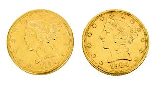 (2) U.S. $5 DOLLAR LIBERTY GOLD COINS 1898 &1904