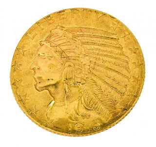 U.S. $5 DOLLAR INDIAN HEAD GOLD COIN, 1915