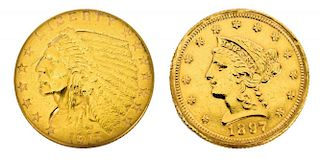 (2) U.S. 2.1/2 DOLLAR LIBERTY & INDIAN GOLD COINS