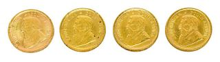 (4) KRUGERRAND GOLD COINS, EACH 1/10 OUNCE
