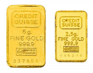 (2) CREDIT SUISSE GOLD BARS, 7.5 GRAMS TOTAL