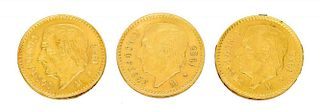 (3) MEXICO 5 PESO GOLD COINS, 1955