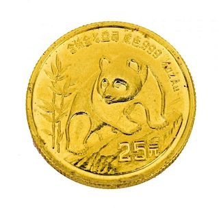 CHINESE GOLD PANDA COIN, 1/4 OUNCE GOLD