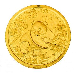 CHINESE GOLD PANDA COIN, 1/10 OUNCE GOLD