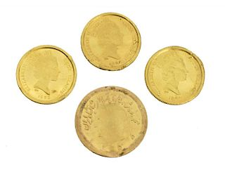 (4) COOK ISLANDS & IRANIAN GOLD COINS