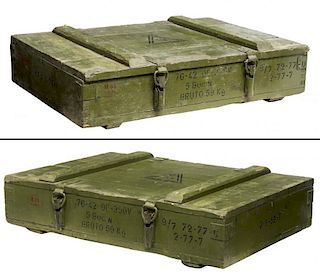 (2) DANISH MILITARY AMMO MUNITIONS PINE BOX CRATE