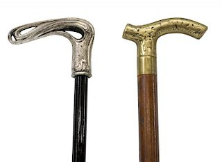 (2) BRASS & SILVERPLATE TOPPED WALKING STICKS