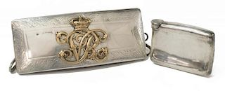 (2) BRITISH ARMY STERLING CARTRIDGE BOX & FLASK