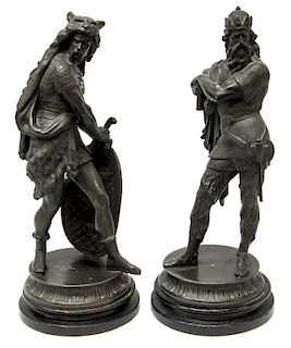 (2) ANTIQUE SPELTER NORDIC WARRIOR FIGURES