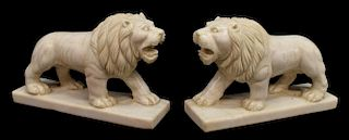 (2) CARVED WHITE MARBLE LION SCULPTURES