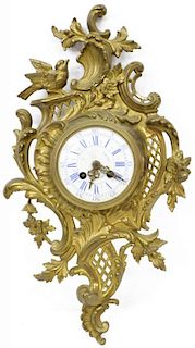 LOUIS XV STYLE SONG BIRD & FLORAL BRASS WALL CLOCK