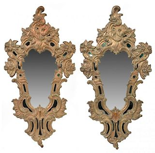 (2) ITALIAN LOUIS XV STYLE SILVERED COPPER MIRRORS