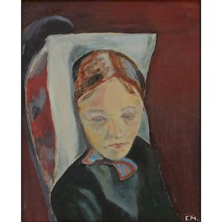 after: Edvard Munch, Norwegian (1863-1944) Oil on Panel, Portrait of a Woman.