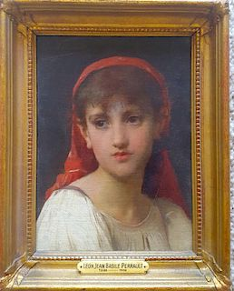 Leon Perrault (1832-1908) portrait of young French girl