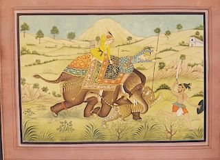 Indian Mughal Painting Elephant & Tiger hunt