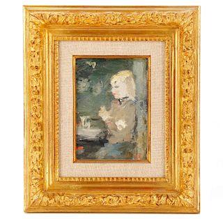 "Dietz Edzard, ""Suzy Solidor"", Oil on Canvas Board"