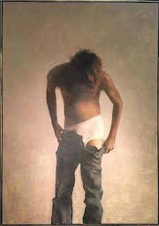 Barry Clinton American Realist Male Nude LARGE life-size painting
