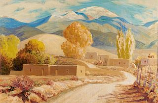 Sheldon Parsons | Adobe Village Scene with Mountains