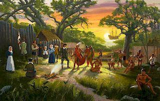 Jim Carson | Meeting with Manteo of the Croatan, Roanoke Colony, 1587, The Lost Colony