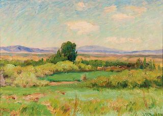 Joseph Henry Sharp | Landscape with Adobes from Sharp's Studio Window