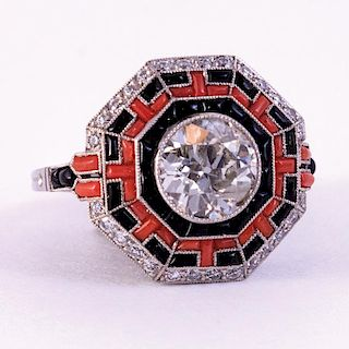 Unknown | Diamond, Onyx and Coral Ring