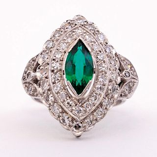 Unknown | Marquise Emerald and Diamond Cluster Ring