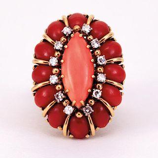 Unknown | Very Fine Coral & Diamond Ring