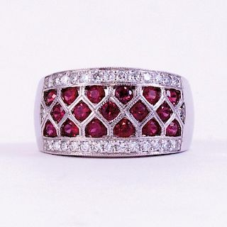 Unknown | Ruby Round & White Diamond Ring