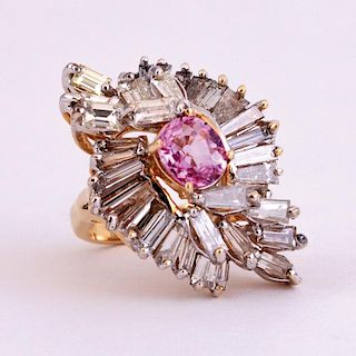Unknown | Pink Sapphire & Diamond Ring