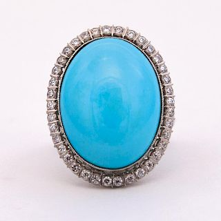 Unknown | Persian Turquoise and Diamond Ring