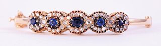 Unknown | Victorian White Diamond & Blue Sapphire Bracelet