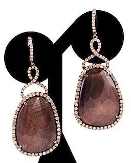 Unknown | Diamond & Sapphire Earrings