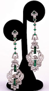 Unknown | Art Deco Diamond & Emerald Earrings