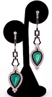 Unknown | Art Deco Emerald & Diamond Earrings