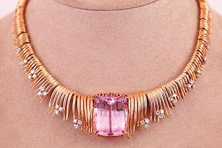 Unknown | Kunzite & Diamond Necklace