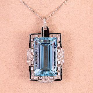 Unknown | Art Deco Aquamarine & Diamond Necklace