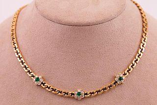 Fred - Joaillier |  Paris | White Diamond & Green Emerald Necklace