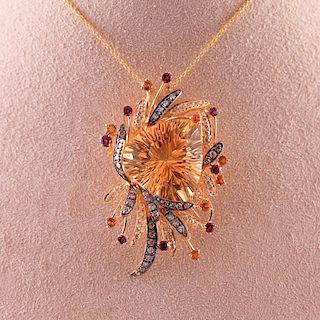 Le Vian | Yellow & Champagne Citrine Trillion Stone Necklace