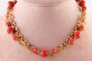 Unknown | Coral & Gold Necklace
