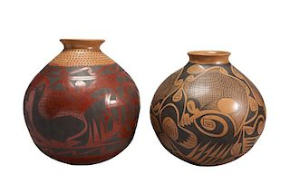 Casa Grandes | Lot of 2 Casa Grandes black and red pots (desc) Larger piece: Nicolas Silveira, smaller work: Gloria Hernandez