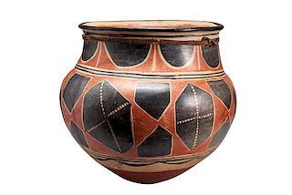 Santo Domingo Pueblo | Polychrome Storage Jar with Leather Tie