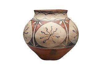 San Ildefonso Pueblo   Polychrome Storage Jar