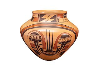 Jean Sahmie | Hopi White, Black, Red Jar with Migration Pattern