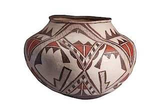 Zuni | Black, White, Red Pot with Geometric Design