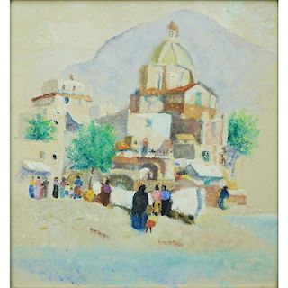 "Attributed to: Paul Victor Jules Signac, French (1863 - 1935) Gouache ""Mountain Village"" Unsigned."