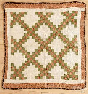 Adams County, Pennsylvania Irish chain crib quilt, late 19th c., 33 1/2'' x 35''. Published in The Ha